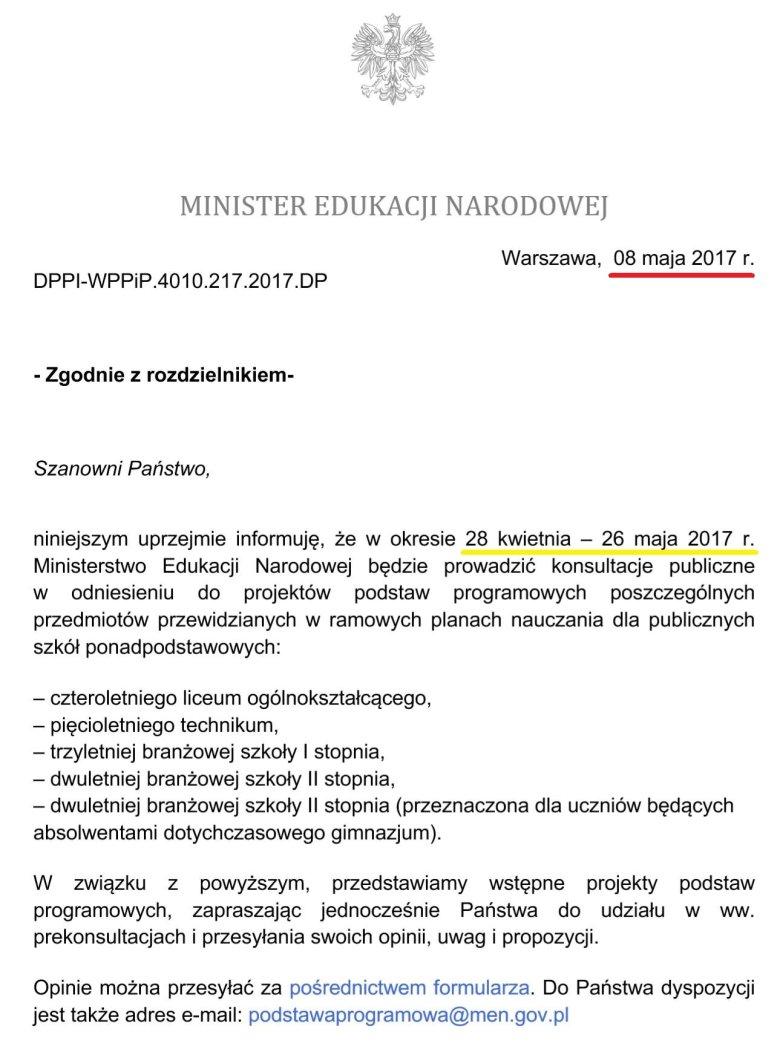 Pismo MEN do organizacji edukacyjnych ws. rozpoczęcia konsultacji projektów podstaw programowych z dnia 08.05.2017r.