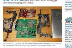 """Szczątki zniszczonego komputera, na którym przechowywano pliki przekazane """"Guardianowi"""" przez Edwarda Snowdena"""