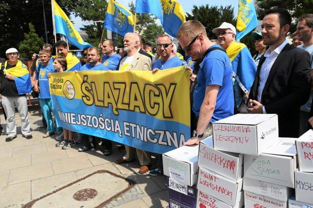 Demonstracja Ruchu Autonomii Śląska w 2014 roku.