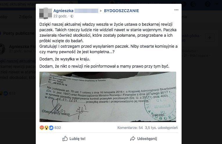 Mieszkanka Bydgoszczy otrzymała paczkę po rewizji służb celno - skarbowych. Jej wpis na Facebooku wywołał wiele emocji.
