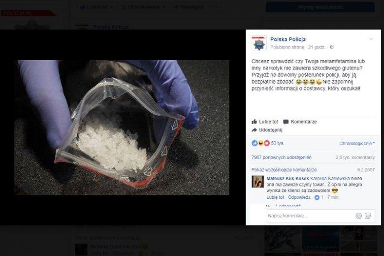 """""""Chcesz sprawdzić czy Twoja metamfetamina lub inny narkotyk nie zawiera szkodliwego glutenu? Przyjdź na dowolny posterunek policji, aby ją bezpłatnie zbadać"""" - post na Facebooku policji robi furorę."""