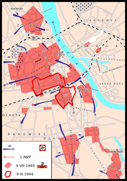 Mapa przedstawiająca walki powstańców w dniach 1 sierpnia - 2 październik 1944 r.