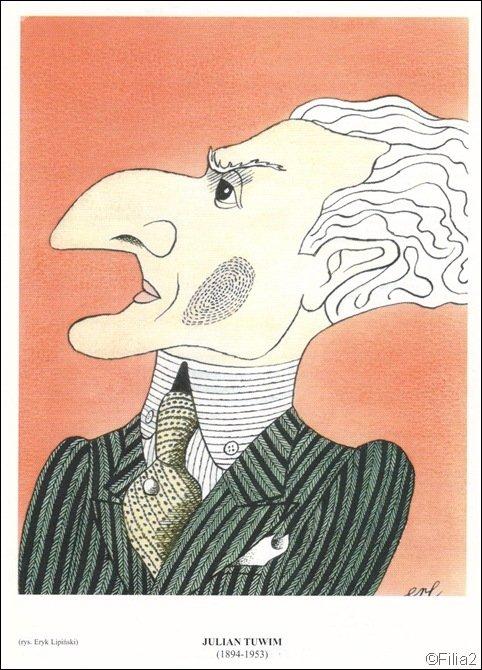 Karykatura Tuwima narysowana przez Eryka Lipińskiego.