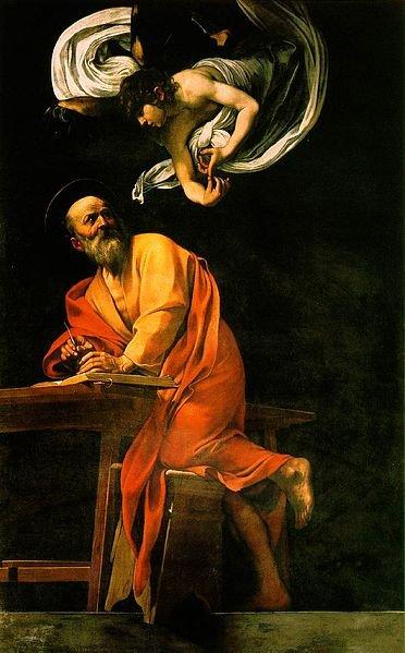 Św. Mateusz i anioł, Caravaggio, 1602, olej na płótnie, Kościół św. Ludwika Króla Francji w Rzymie