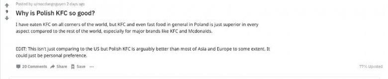 Użytkownicy Reddita pytają, dlaczego KFC w Polsce jest takie dobre.