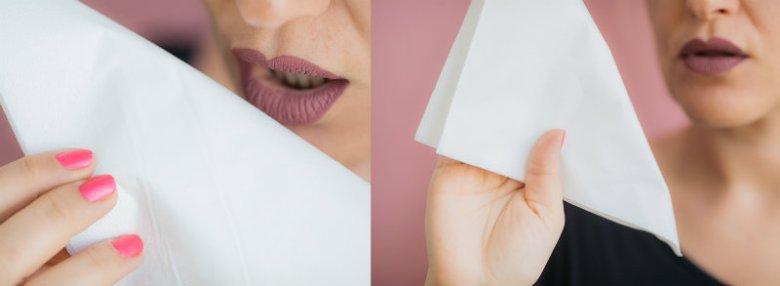 Test chusteczki - zdany. Po nałożeniu pomadki na usta wystarczy dosłownie chwila, aby  zastygła.