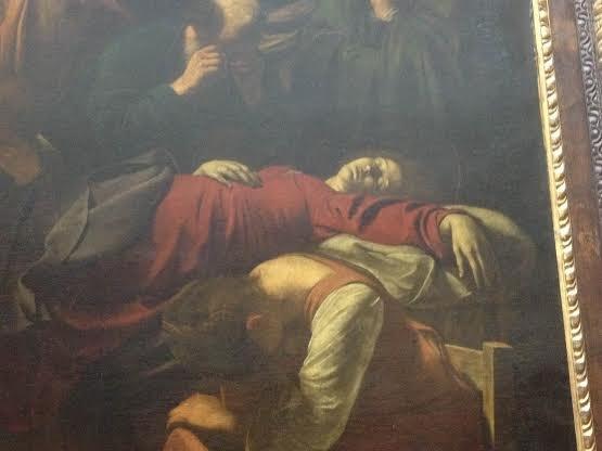 """Fragment obrazu Caravaggia, """"Śmierć Marii"""", Luwr"""