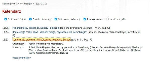 Przedstawiciel włoskiej partii miał być jednym z uczestników konferencji w Sejmie.