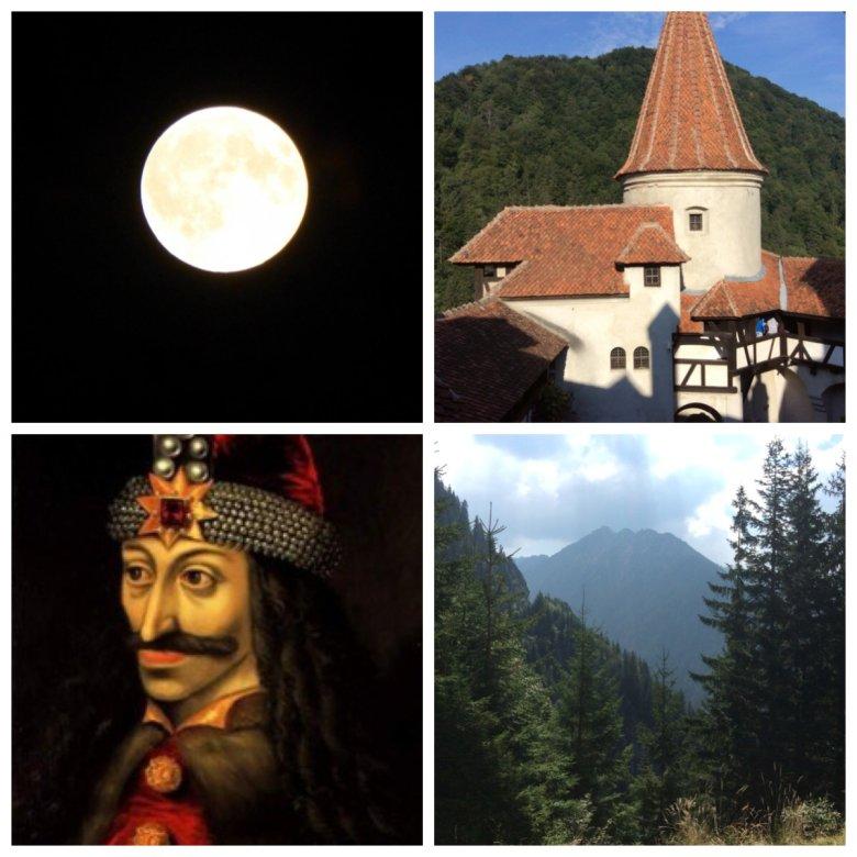 Pełnia księżyca, Zamek Bran w Transylwanii, Rumunia, Portret Valada (Tepes) Palownika zwanego Drakulą.