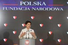Ile pieniędzy ma Polska Fundacja Narodowa? Już nie 100 mln zł, ale o wiele więcej. Na zdjęciu Beata Szydło podczas ogłoszenia powstania PFN.