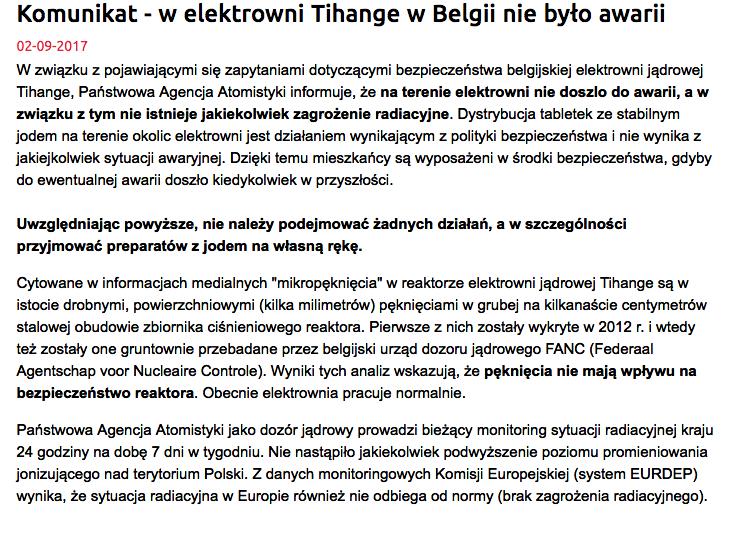 Państwowa Agencja Atomistyki wydała oficjalny komunikat w sprawie elektrowni Tihange w Belgii, podkreślając, że żadnej awarii nie było