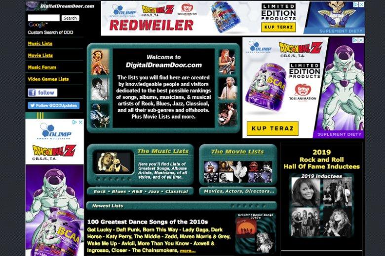 Serwis DigitalDreamDoor.com zawiera ponad 200 rankingów pogrupowanych w kategoriach muzyki, filmów, książek i gier video