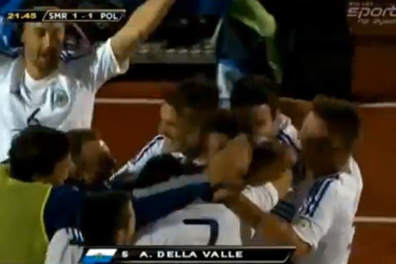 Tak reprezentacje San Marino cieszy się ze strzelenia bramki Polakom.