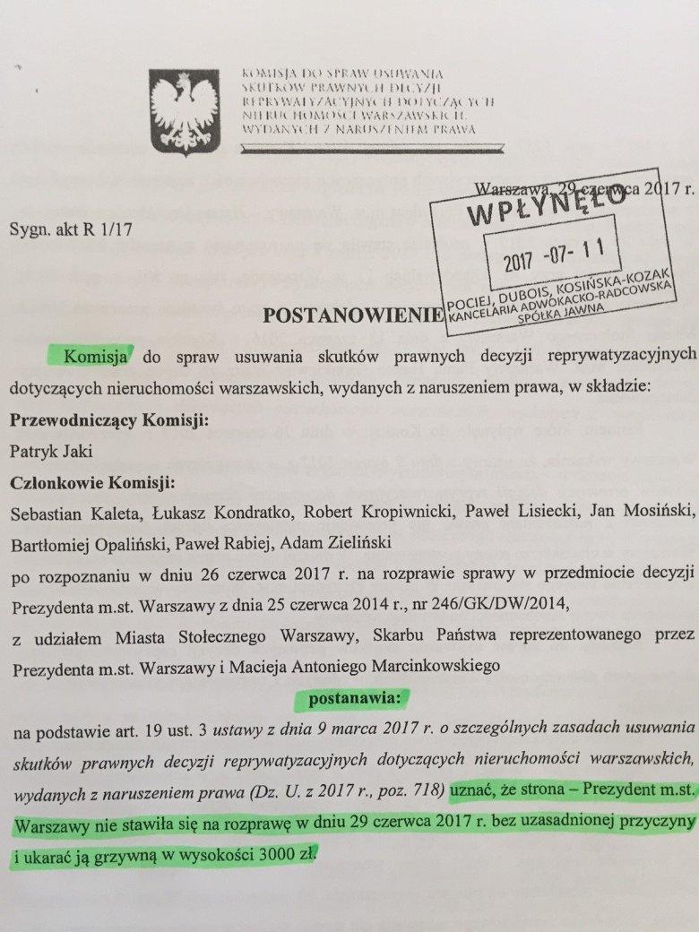 Podkreślone na zielono fragmenty nie pozostawiają złudzeń - Patryk Jaki nie potrafi skutecznie ukarać Hanny Gronkiewicz-Waltz.