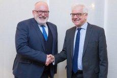 To pierwsze spotkanie Fransa Timmermansa i Jacka Czaputowicza. Obaj panowie rozmawiali o sytuacji Polski w Unii Europejskiej.