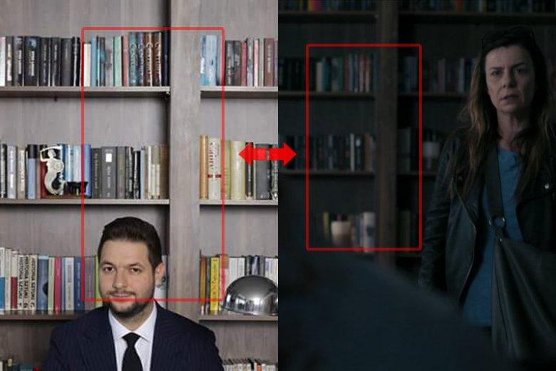 """Patryk Jaki siedzi przy biurku, a w tle jego księgozbiór. Tylko czy rzeczywiście jego? Ten sam regał i te same książki wystąpiły w serialu """"Pułapka""""."""