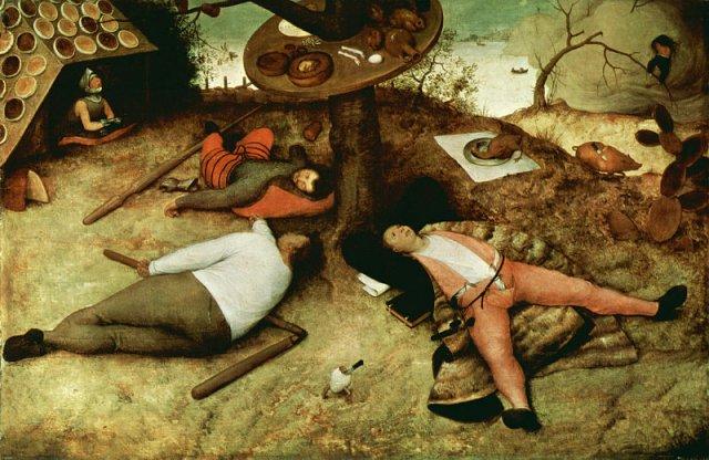 """Pieter Bruegel Starszy, """"Luilekkerland"""", 1567, olej na desce. http://en.wikipedia.org/wiki/Cockaigne"""