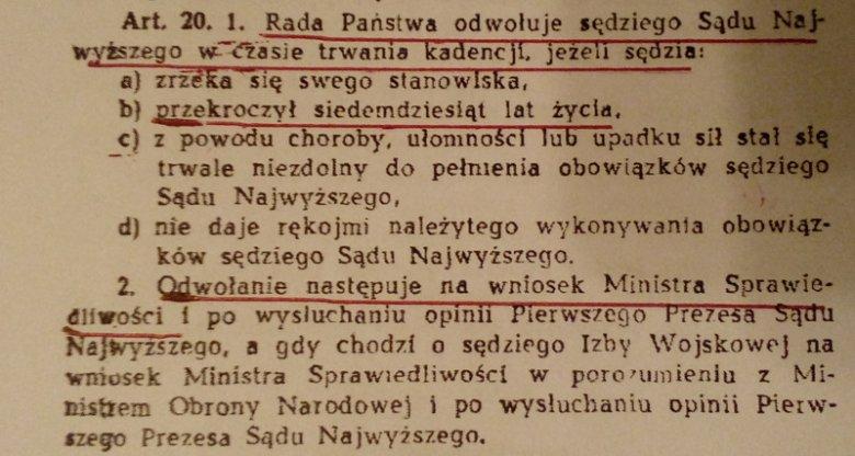 Fragment ustawy o Sądzie Najwyższym z roku 1962.