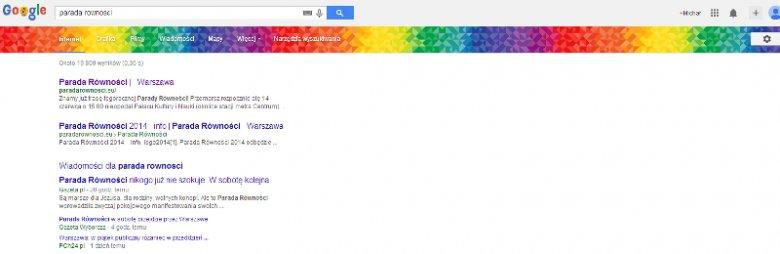 """Tak wygląda Google po wpisaniu hasła """"Parada Równości"""""""