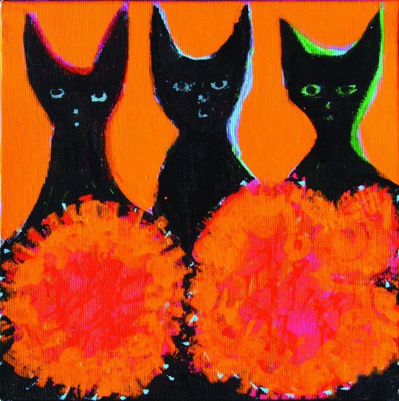 """""""Trzy koty odnalezione na strychu pracują nad partyturą kociej muzyki""""."""