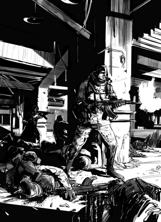 """ilustracja Roberta Adlera do powieści Bartka Biedrzyckiego """"Kompleks 7215"""""""