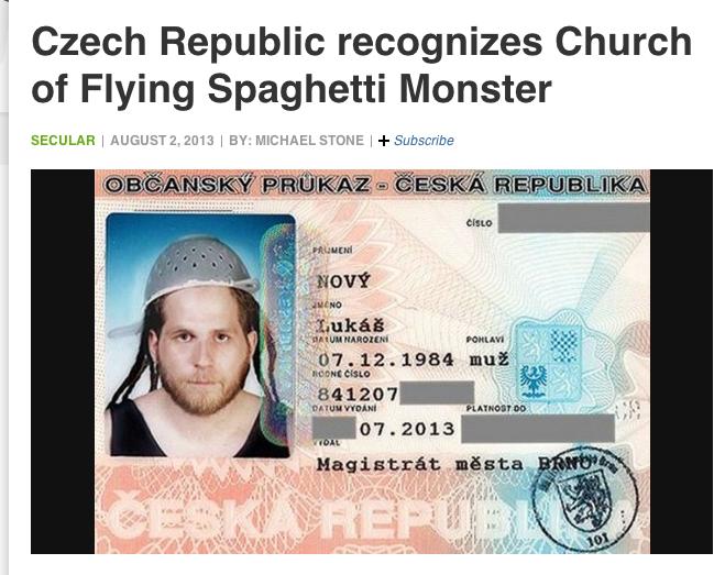 Czesi uznali Kościół Latającego Potwora Spaghetti. Zdjęcie dowodu Lukasa Novy