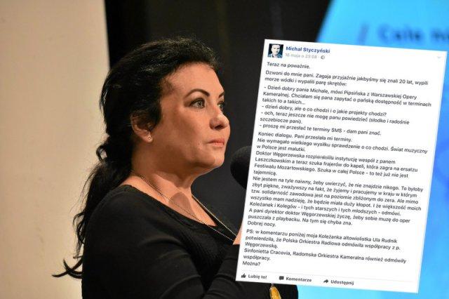 """Alicja Węgorzewska pełniąca obowiązki dyrektora WOK-u szuka oszczędności w zatrudnianiu artystów na """"śmieciówkach"""". To nie mogło zostać niezauważone."""