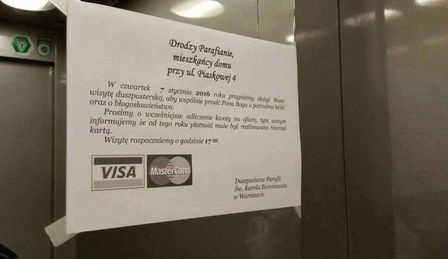 Ogłoszenie parafialne z warszawskiej windy.