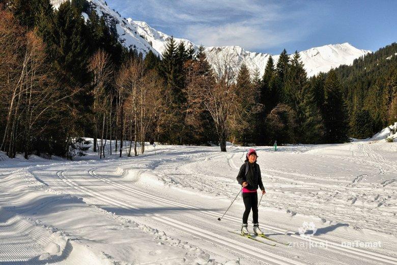 Na narciarskiej trasie biegowej Steinbockloipe