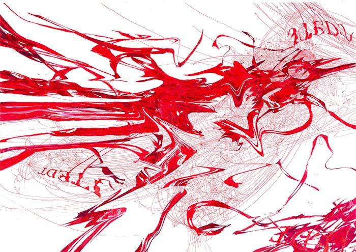 Krwotok / Hemorrhage 100 x 70 cm, 2013, marker  i cienkopis na papierze