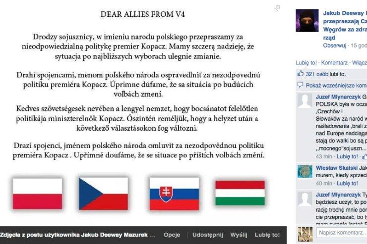 """Internauci przepraszają członków Grupy Wyszehradzkiej za """"zdradę, której dokonał polski rząd"""""""