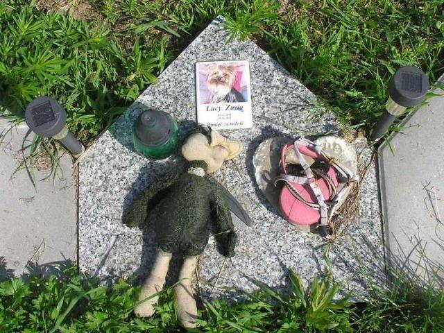 Właściciele zostawiają zabawki przy nagrobkach.