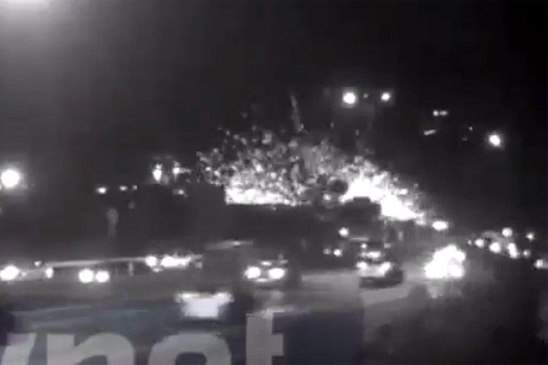 Tak wyglądał moment wybuchu nagrany przez kamery miejskiego monitoringu.
