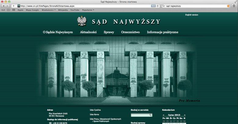Zrzut ekranu strony www.sn.pl