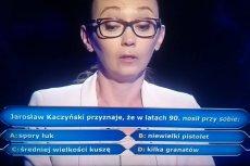 """Kaczyński ze sporej wielkości łukiem? Nie, uczestniczka """"Milionerów"""" wiedziała, że prezes PiS nosił przy sobie mały pistolet."""