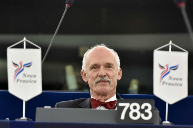 Janusz Korwin-Mikke i jego trzej koledzy mają w Parlamencie Europejskim mają aż 65 asystentów.