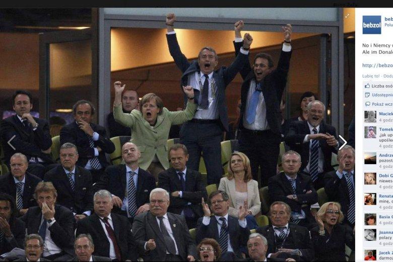 Radość Angeli Merkel po bramce Niemców