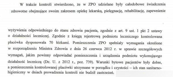 Fragment wystąpienia pokontrolnego Wojewody Mazowieckiego do właścicieli Zakładu w Siennicy z 2013 r.