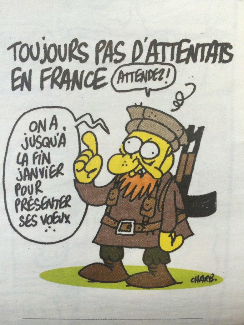 """Ostatni rysunek Stéphane'a Charbonniera na łamach """"Charlie Hebdo"""""""