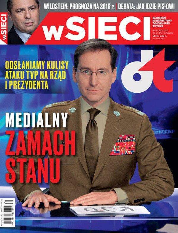 """Zdjęcie okładki tygodnika """"Sieci"""" z grudnia 2015 r. To tego numeru dotyczy wyrok warszawskiego Sądu Okręgowego."""
