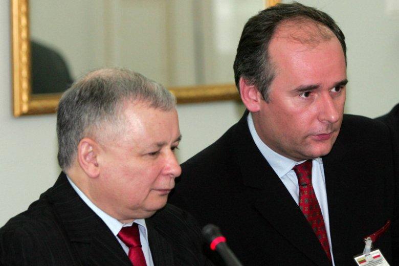 Jarosław Kaczyński i Paweł Zalewski; zdjęcie z roku 2007.
