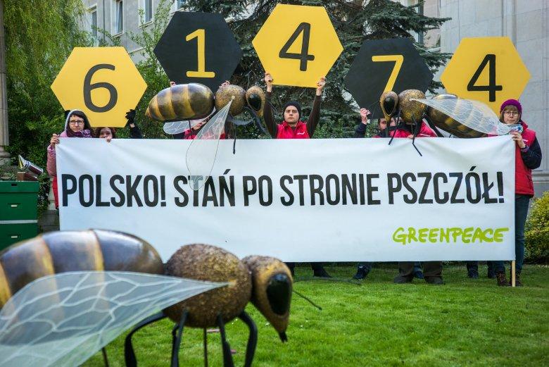 Happening z okazji przekazania Ministrowi Rolnictwa ponad 64 tysięcy podpisów pod apelem o to, by Polska opowiedziała się w UE po stronie pszczół. Był to wspólny apel Greenpeace i  trzech największych związków pszczelarskich.