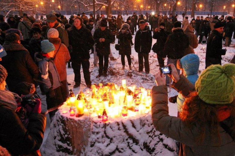 """""""Światełko dla drzewa"""", 12 stycznia: miłośnicy Ogrodu Krasińskich zapalają znicze na pniach ściętych drzew."""