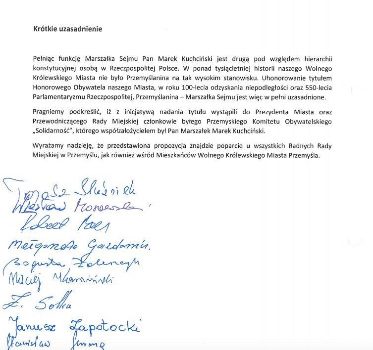 Uzasadnienie nadania tytułu Honorowego Obywatela Miasta.