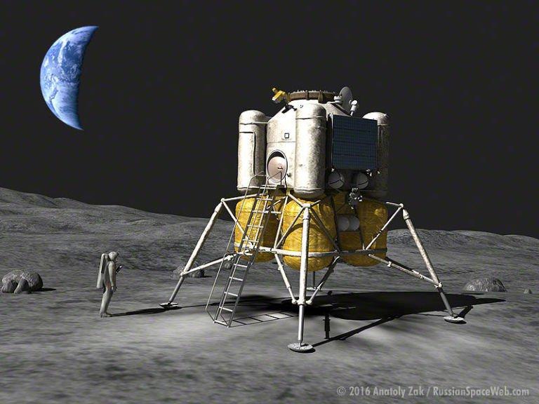 Wizja artystyczna opracowywanego przez Rosjan lądownika księżycowego.