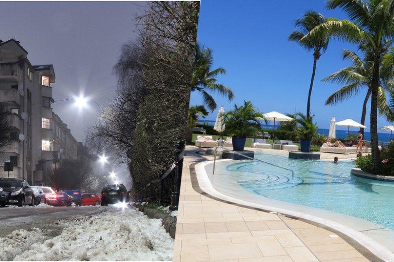 Szarobura zima w Polsce vs. rajskie wakacje na Mauritiusie.