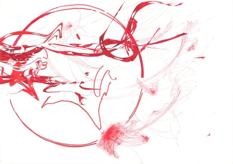 Krwioplucie/ Bloody Sputum. 100 x 70 cm, 2013, marker  i cienkopis na papierze