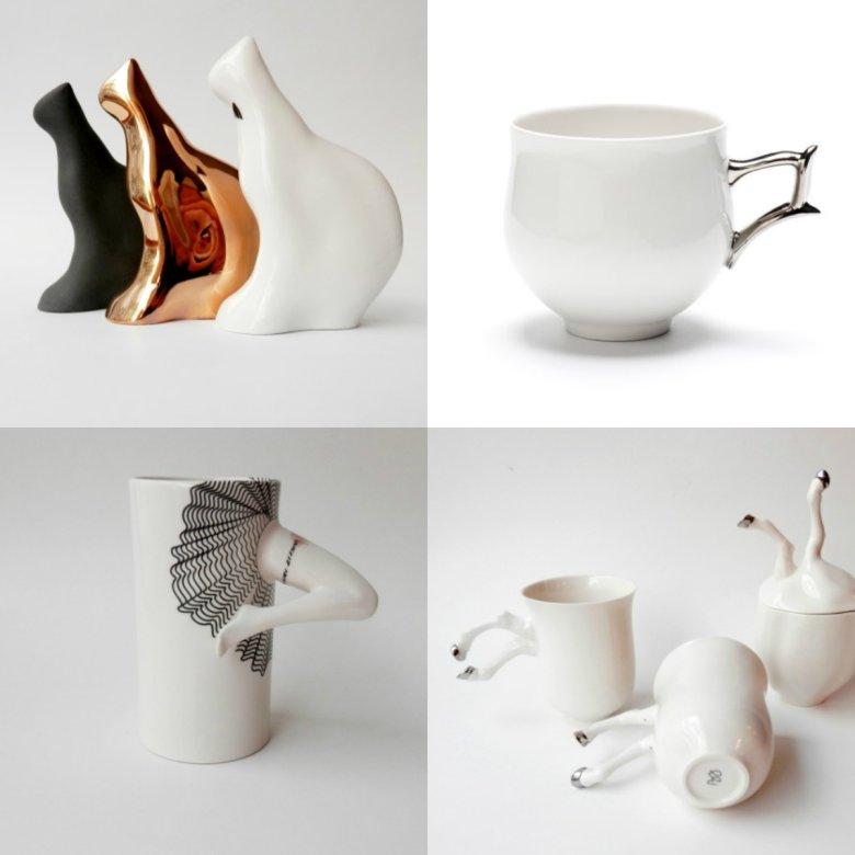 Barbara Śniegula w swoich pracach używa tylko porcelany, którą zdobi złotem i platyną