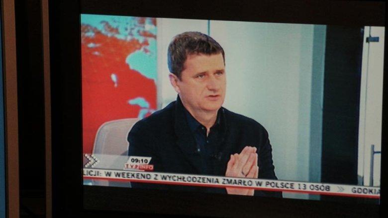 Janusz Palikot daje wywiad TVP Info