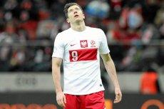 Robert Lewandowski podczas meczu z Ukraina w ramach el. MŚ